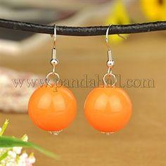 Eleganti sfera in acrilico orecchini pendenti, con ganci di orecchini di ottone, arancione scuro, 40mm all'ingrosso - It.Pandahall.com