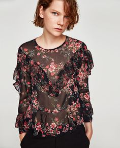 Image 4 of FLOWING BLOUSE WITH FRILLS from Zara