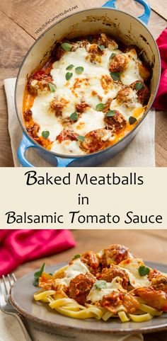 Baked Meatballs in Balsamic Tomato Sauce.. a full flavored rich tomato sauce…