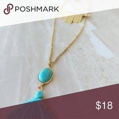 TASSEL GOLD DAINTY STATEMENT NECKLACE DAINTY YET VERY BOHO STYLE  MAKE A STATEMENT WITH THIS PIECE  MAN MADE MATERIAL TURQUOISE RESIN AND A BLUE TASSEL.  CRYSTAL ELEMENTS  16 INCHES LONG  18 INCHES LONG  20 INCHES LONG  EACH LAYER  HYPO ALLERGENIC  CALIFORNIA PROPOSITION 65 COMPLIANT  LEAD AND NICKEL FREE COMPLIANT Alquimia Jewelry Necklaces