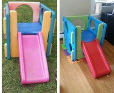 Little tikes redo. Before and after spray paint. Little tikes redo. Before and after spray paint. Little Tikes Redo, Little Tikes Slide, Little Tikes Makeover, Little Tykes, Little Tikes Playground, Backyard Playground, Backyard Playset, Painting Plastic, Kids Play Area