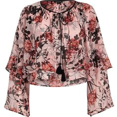 River Island Pink floral layered frill crop top (2.010 RUB) ❤ liked on Polyvore featuring tops, shirts, blouses, pink, women, floral crop top, long sleeve shirts, ruffle top, pink top and floral shirts