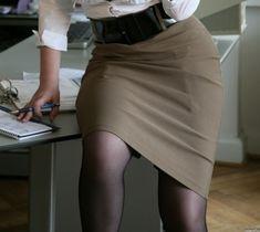 Garter Bumps Under Brown Pencil Skirt