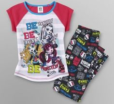 MONSTER High Pjs 7/8 NeW Pajamas Shirt Pants Draculaura Frankie & Lagoona Blue #Mattel #PajamaSet
