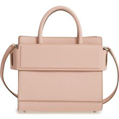 GIVENCHY Mini Horizon Grained Calfskin Leather Tote ❤ liked on Polyvore featuring bags, handbags, tote bags, nude pink, purse tote bag, tote purses, pink purse, handbags totes and structured tote bag