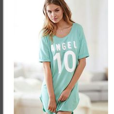 Victoria's Secret sleep shirt Your favorite sleepshirt with cute turn-up short sleeves is supersoft, light and washed to perfection. It's like tee heaven.  Easy fit Lightweight Supersoft and stretchy cotton Short rolled sleeves Drop shoulders Graphic at front Mid-thigh length Imported cotton/polyester Victoria's Secret Intimates & Sleepwear Pajamas