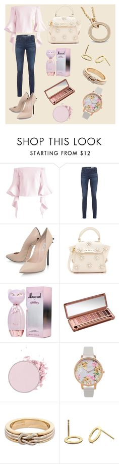 """""""Mothers Day Gifts Idea - Pink and Peach"""" by tdncreations ❤ liked on Polyvore featuring Chicwish, AG Adriano Goldschmied, Casadei, ZAC Zac Posen, Urban Decay and Olivia Burton"""