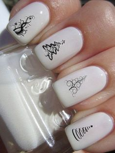 Here are some Christmas nail art designs to get you in the mood for the holiday season. Now, without further ado, read on to 40 elegant white nail designs for Christmas. There's a nail look to help you celebrate in style. Cute Christmas Nails, Xmas Nails, New Year's Nails, Fun Nails, Elegant Christmas, Christmas Manicure, Christmas Stickers, White Christmas, Christmas Trees