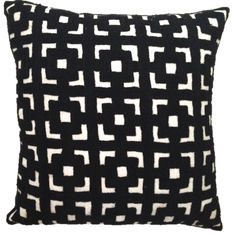 """Black and White Embroidered Cushion CoverThese spectacular monochrome crewel embroidered pillow cushion covers are hand embroidered by artisans in the Kashmir region of India. Made from super quality wool, these expertly crafted cushion covers also have a thick cotton backing with button closure.These are sure to add a huge dose of style and texture to any home decor!-Size: 16""""x 16"""" (40cms x 40cms)-Material: Wool with cotton canvas backing-Origin: Imported..."""