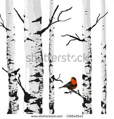 Bird of birches, vector drawing with editable elements. Washable Wall Mural ✓ Easy Installation ✓ 365 Days to Return ✓ Browse other patterns from this collection! Art Mural Tissu, Black And White Tree, Fabric Wall Art, Botanical Drawings, Bird Art, Graphic Design Art, Painting Inspiration, Wall Murals, Canvas Wall Art