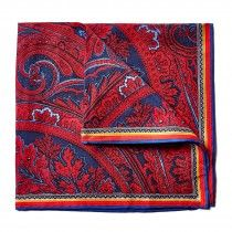 Bruno Piattelli Silk Pocket Square, Red Paisley with Blue