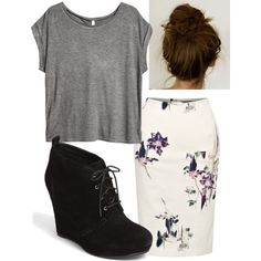 A fashion look from September 2013 featuring H&M t-shirts, French Connection skirts and Jessica Simpson ankle booties. Browse and shop related looks.