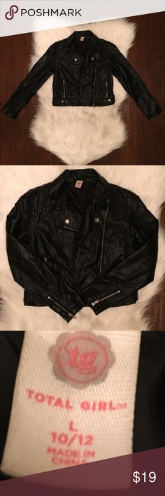 Total Girl Faux Leather Jacket Super cute girl's faux leather jacket size L 10/12. No rips or stains. Good condition!! Total Girl Jackets & Coats