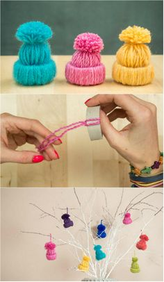 Education 306596687124631449 - Mini-bonnets décoratifs en laine Source by guideastuces Pinterest Christmas Crafts, Christmas Crafts For Kids, Holiday Crafts, Christmas Decorations, Christmas Centerpieces, Pom Pom Crafts, Yarn Crafts, Crochet Christmas Ornaments, Holiday Ornaments