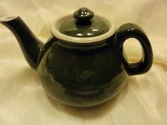 Antique Guernsey Cooking Ware Green Earthenware Art Pottery Small TEA POT
