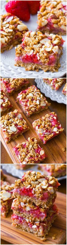 Healthy and Easy Strawberry Oat Squares Recipe #healthy #strawberry #dessert