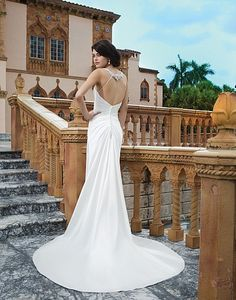 Style 3847: Stretch satin straight dress emphasized by a sweetheart neckline | Sincerity Bridal