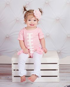 Baby Girls Pink Football Bodysuit by SweetDesignsBtque on Etsy
