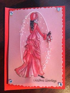 Christmas Card with Victorian Lady.  Pergamano Parchment