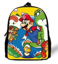 12-inch Mochila Mario School Bag Children Boys Cartoon Mario Backpack Kids Mario Book Bags For Girls