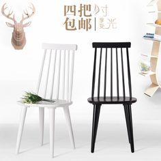 美式实木餐椅简约北欧酒店咖啡餐桌椅溫莎椅休闲靠背木椅实木椅子-淘宝网