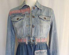 Boho Kleidung, Damen-Jacke, Mantel, Jeans, blue Jeans, verschönert Denim, schäbig schicke Kleidung, Jean Jacke, eine Art, einzigartige Kleidungsstücke