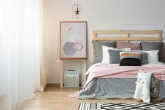 ▬ [Get Free]● Pink, White And Grey Colors Apartment Bed Bedding Bedroom Beige Bright Trendy Colors, Bedroom Bed, Malaga, Contemporary, Modern, Gray Color, Instagram, Indoor, Pillows