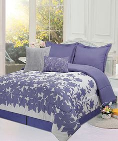 Look at this Periwinkle & White Floral Comforter Set on #zulily today!