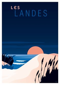 Affiche Les Landes Poster available in different formats. Very nice prints on paper. Beach Illustration, Mouse Illustration, Dinosaur Illustration, Art Vintage, Vintage Prints, Vintage Style, Beach Posters, Art Deco Posters, Retro Posters