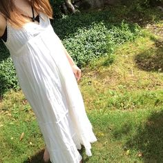 Boho white maxi dress 100% cotton. Size S. Feels like size M. Underarm to the bottom has about 40inches length. Never worn👍🌺 Dresses Maxi