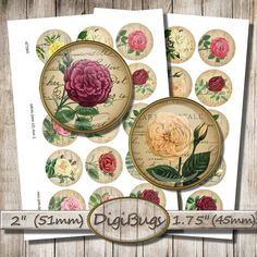 Vintage Roses on Old Letters Digital Collage Sheet by DigiBugs Old Letters, Mirror Image, Vintage Roses, Collage Sheet, Digital Collage, Collages, Circles, A4, Printable
