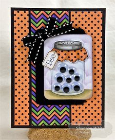 – Taylored Expressions by SLWhite – Cards and Paper Crafts at Sp… Googly Eye Boo! Halloween Scrapbook, Halloween Cards, Halloween Paper Crafts, Fall Cards, Holiday Cards, Mason Jar Cards, Mason Jars, Adornos Halloween, Shaker Cards