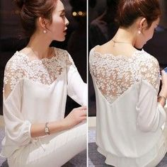 shirt embroidery Picture - More Detailed Picture about 2015 New Summer Plus Size Blouse Women Casual Chiffon Lace Blouse Loose Stitching Lace Long Sleeve Ladies Shirt Blusas Picture in Blouses & Shirts from ShejoinSheenjoy Bodycon Store Top Fashion, Fashion Women, Street Fashion, Chiffon Shirt, Lace Chiffon, Plus Size Blouses, Mode Inspiration, Lace Tops, Blouse Designs
