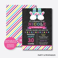Instant Download, Editable Slumber Birthday Invitation, Sleepover Invitation, Slumber Party Invitation, Pajamas, Girl, Chalkboard (CKB.474)