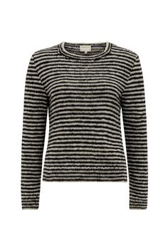 Round-neck stripe jumper. This striped jumper has a charming, hand crafted feel and is perfect for Autumn weekends. Elle is 5'7 and is wearing a size M.
