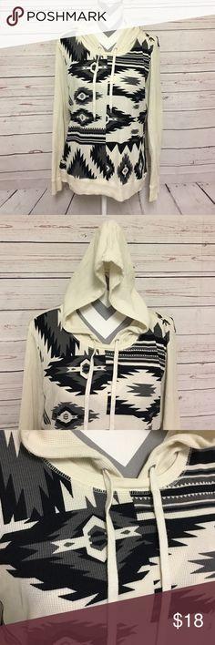 Aztec Print Hoodie Worn less than 5 times, minor wear, no damage. Waffle Knit hoodie. Lauren Ralph Lauren Tops Sweatshirts & Hoodies