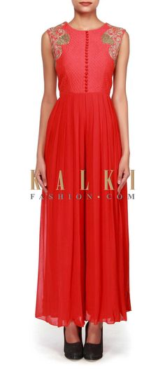 Buy Online from the link below. We ship worldwide (Free Shipping over US$100). http://www.kalkifashion.com/red-jumpsuit-enhanced-in-zari-and-zardosi-embroidery-only-on-kalki.html