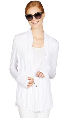 Mott 50 Women's Christine Athletic Sweaters, X-Large, White. UPF 50 clothing. Luxe fabric. Hand covers for added sun protection. Machine wash cold. Line/hang dry.