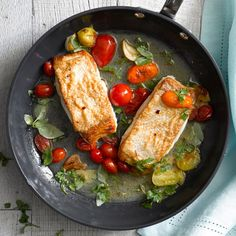 Panfried Halibut with Tomatoes and Basil