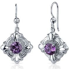 Victorian Style 2.50 Carats created Alexandrite Round Cut Dangle Cubic Zirconia Earrings in Sterling Silver Rhodium Nickel Finish Peora