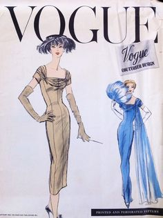 1950s GORGEOUS Evening Gown Cocktail Party Dress Pattern VOGUE COUTURIER Design 937 Slim Fitted Dress Draped Neckline Bust 36 Vintage Sewing Pattern +Label