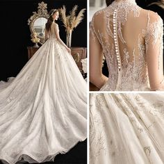 High-end Ivory See-through Wedding Dresses 2019 Ball Gown High Neck Sleeve Glitter Tulle Handmade Beading Sequins Cathedral Train Ruffle Wedding Gown Ballgown, Western Wedding Dresses, Wedding Dresses With Flowers, Wedding Dress Chiffon, White Wedding Dresses, Bridal Dresses, Wedding Gowns, Wedding Lace, Mermaid Wedding