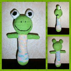 Crochet Babyrattle, Frog, Pattern made by me - Virkad Babyskallra, Groda, Eget mönster - Crocheted by Susanna