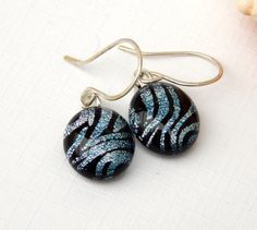 Zebra Print Dichroic Glass Drop Earrings - Fused Glass Jewelry - Animal Print Art Glass Dangle Earrings on 925 Sterling Silver Earwires by TremoughGlass on Etsy