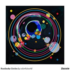 Shop Kandinsky Circles Poster created by colorfulworld. Wassily Kandinsky, Circle Painting, Abstract City, Circle Art, Art Abstrait, Custom Posters, Art Techniques, Art Lessons, Art Projects