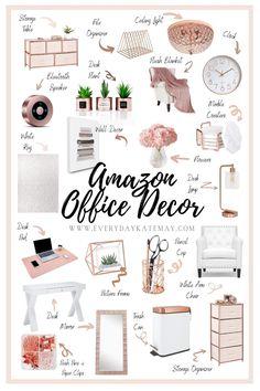 Cozy Home Office, Home Office Space, Home Office Design, Office Desks, Gold Office Decor, Work Desk Decor, Small Office Decor, Decorating Office At Work, Womens Office Decor