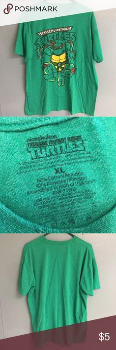 Men's Size XL Nickelodeon TMNT Rafael T Shirt Men's Size XL Nickelodeon Teenage Mutant Ninja Turtles TMNT Rafael Green T Shirt ▪️Measurements: * Pit to Pit: 26in * Shoulder to Hem: 29in  ▪️Condition: very good preowned condition. Some cracking and peeling and one small stain pictured at the bottom right corner hem on the front side of the shirt. Shirts Tees - Short Sleeve