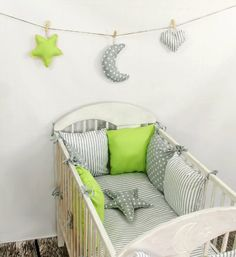 Baby Bettwäsche Design6 Nestchen Bettset 100x135 für Babybett Decke Kissen Bettumrandung: Amazon.de