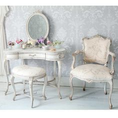 Delphine Distressed Shabby Chic Dressing Table - White French Dressing Table.