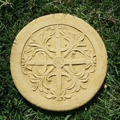 """Celtic Stepping Stones by Designer Stone. 12"""" in Diameter. Handcrafted in solid cast stone. Made in the USA! Available in 4 colors. Shown in Old Stone. DSgardenshop.com"""